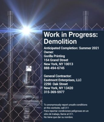 Demolition Construction Fence Signs